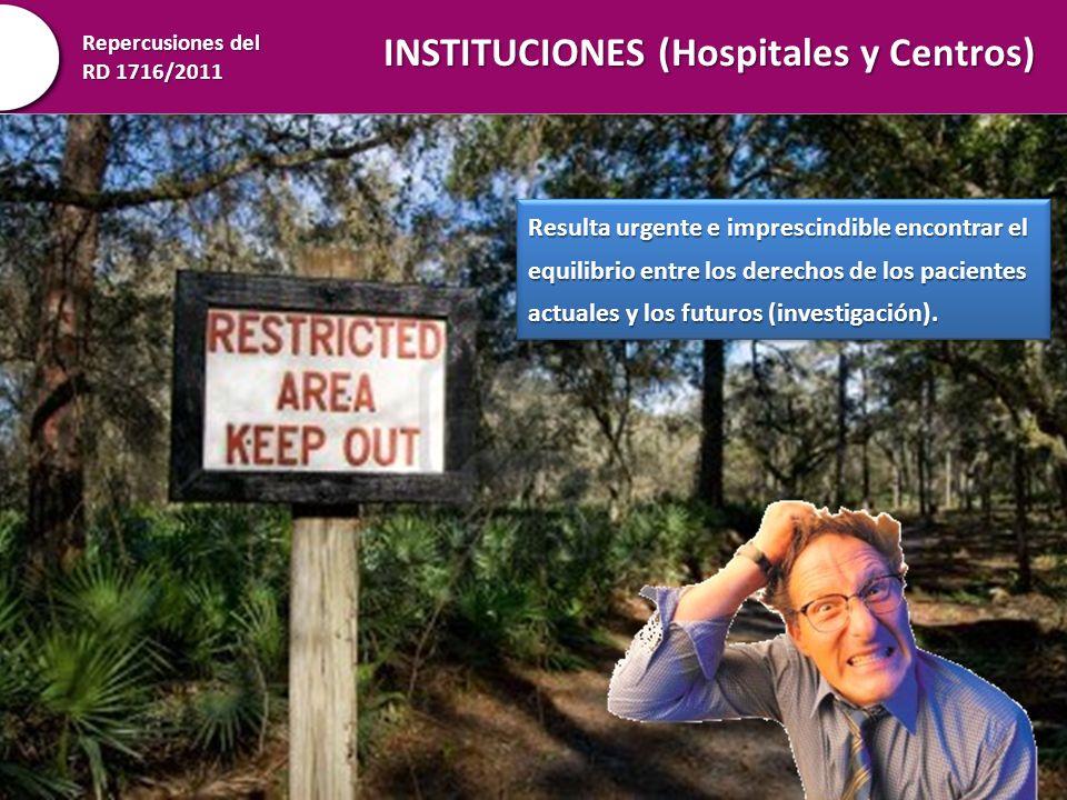 Repercusiones del RD 1716/2011 INSTITUCIONES (Hospitales y Centros) Resulta urgente e imprescindible encontrar el equilibrio entre los derechos de los