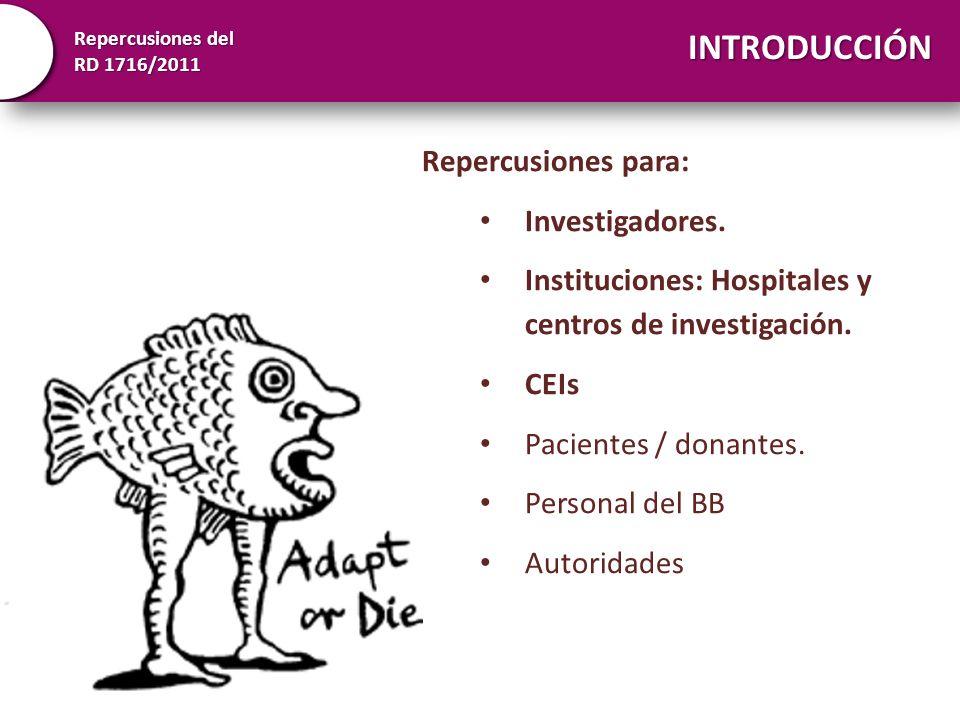 Repercusiones del RD 1716/2011 Repercusiones para: Investigadores. Instituciones: Hospitales y centros de investigación. CEIs Pacientes / donantes. Pe