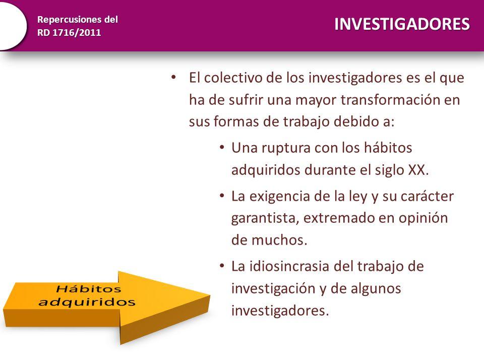 Repercusiones del RD 1716/2011 INVESTIGADORES El colectivo de los investigadores es el que ha de sufrir una mayor transformación en sus formas de trab