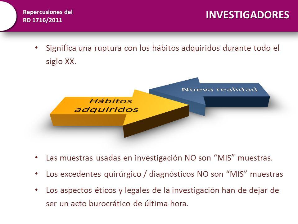 Repercusiones del RD 1716/2011 INVESTIGADORES Significa una ruptura con los hábitos adquiridos durante todo el siglo XX. Las muestras usadas en invest
