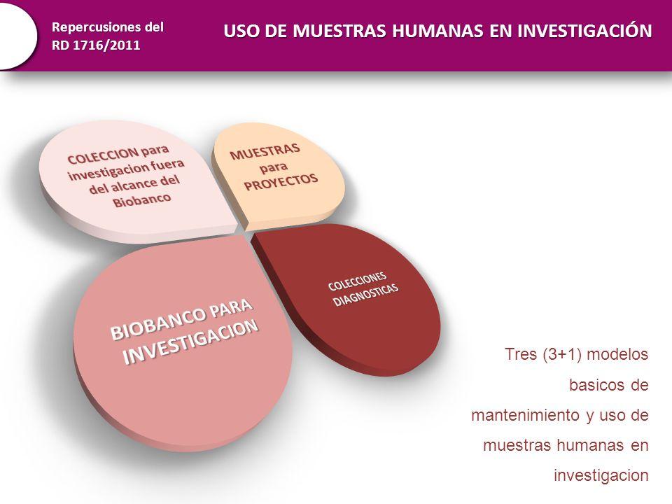 Repercusiones del RD 1716/2011 Tres (3+1) modelos basicos de mantenimiento y uso de muestras humanas en investigacion USO DE MUESTRAS HUMANAS EN INVES