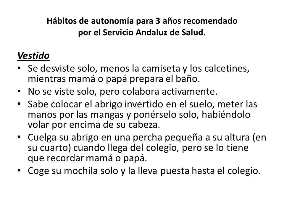 Hábitos de autonomía para 3 años recomendado por el Servicio Andaluz de Salud. Vestido Se desviste solo, menos la camiseta y los calcetines, mientras