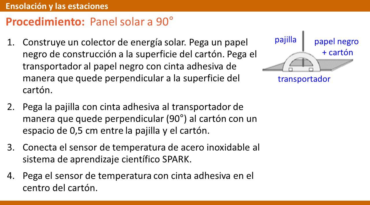 1.Construye un colector de energía solar. Pega un papel negro de construcción a la superficie del cartón. Pega el transportador al papel negro con cin