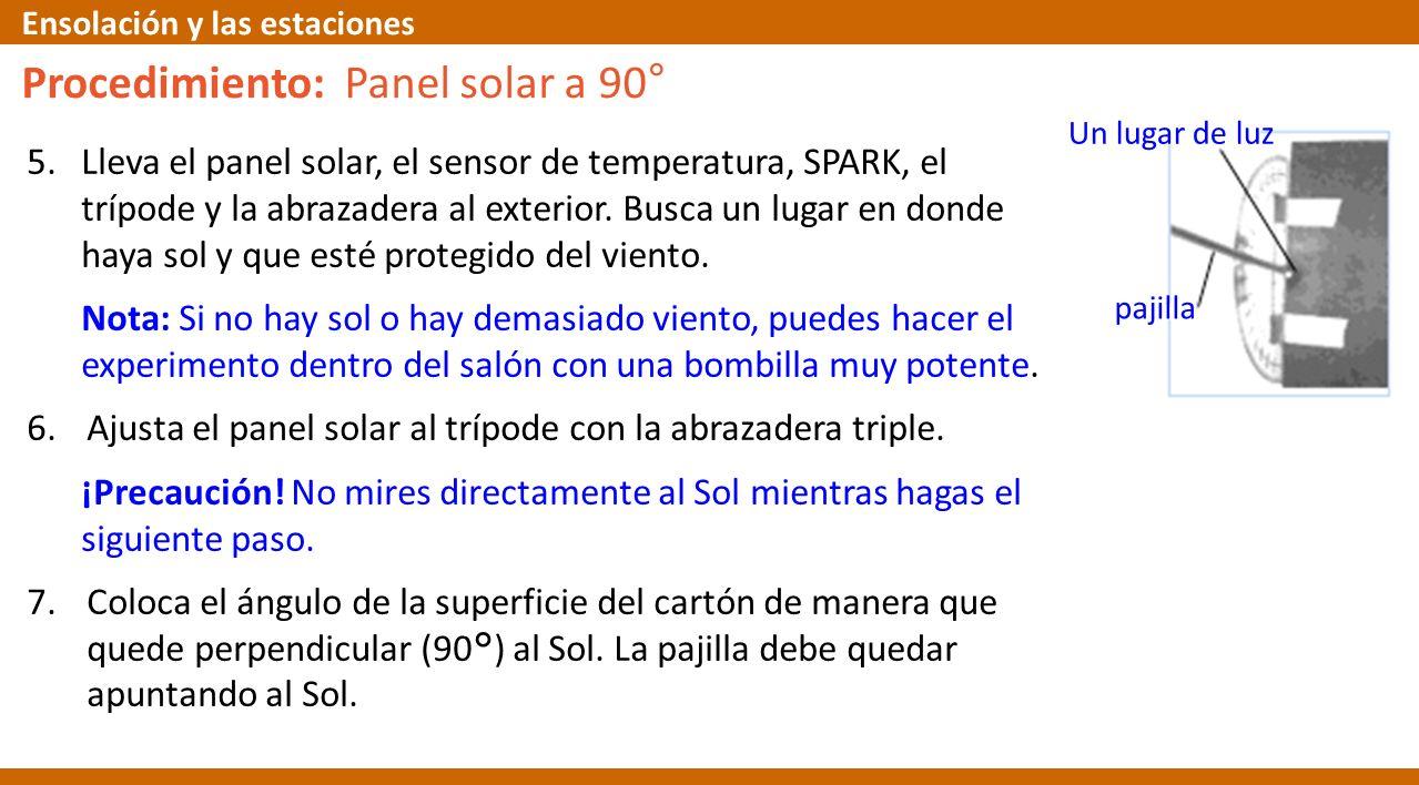 5.Lleva el panel solar, el sensor de temperatura, SPARK, el trípode y la abrazadera al exterior. Busca un lugar en donde haya sol y que esté protegido