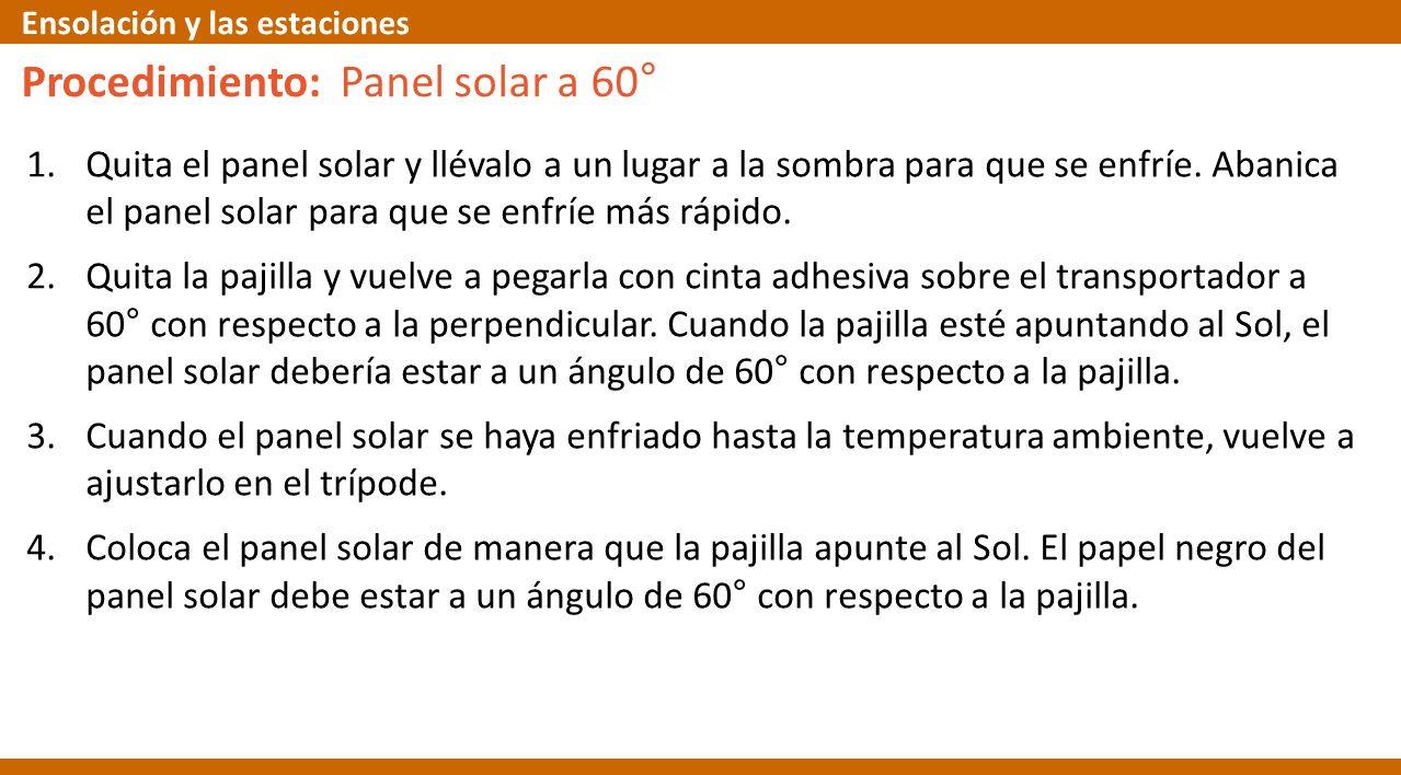 Procedimiento: Panel solar a 60° 1.Quita el panel solar y llévalo a un lugar a la sombra para que se enfríe. Abanica el panel solar para que se enfríe