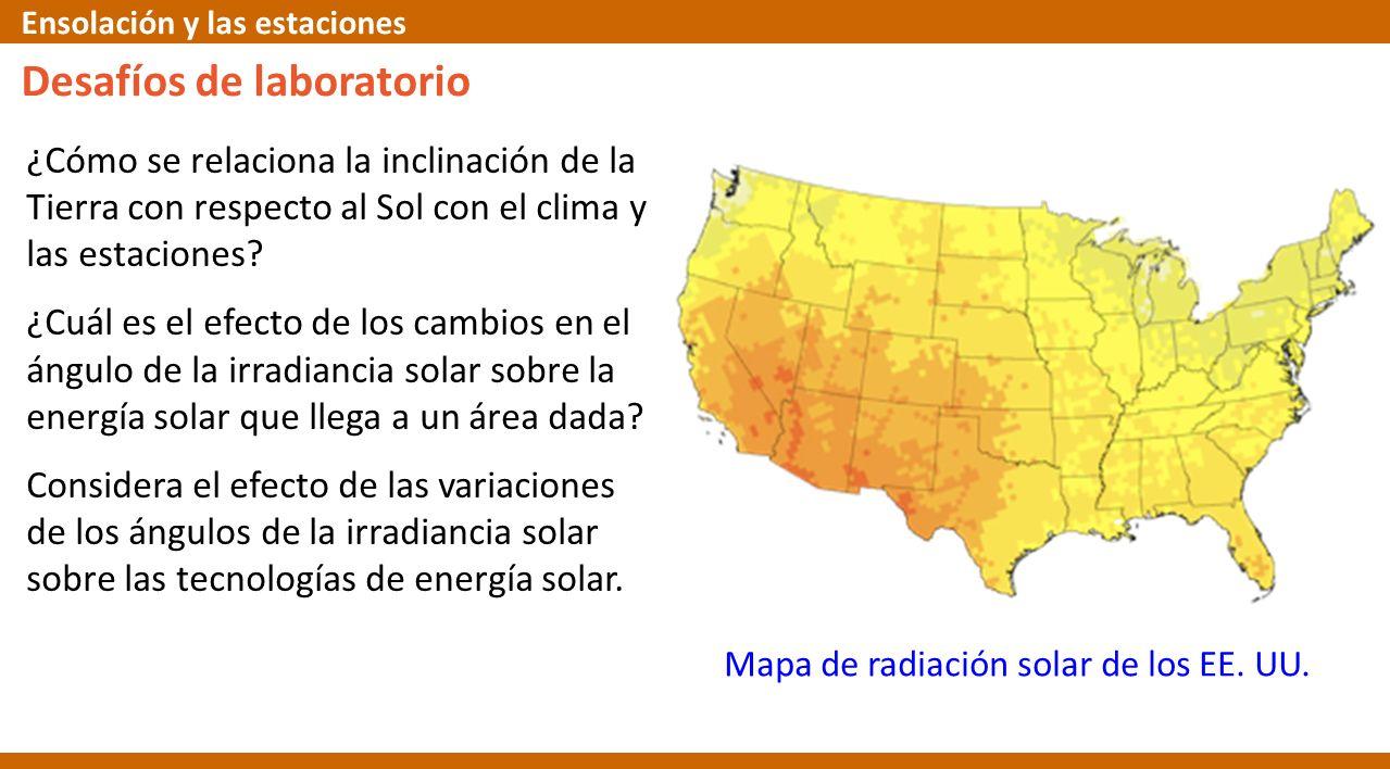 Desafíos de laboratorio ¿Cómo se relaciona la inclinación de la Tierra con respecto al Sol con el clima y las estaciones? ¿Cuál es el efecto de los ca
