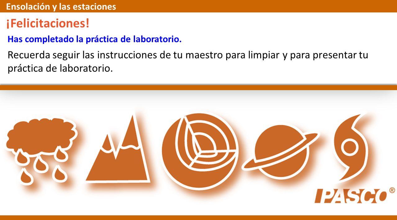 Has completado la práctica de laboratorio. ¡Felicitaciones! Recuerda seguir las instrucciones de tu maestro para limpiar y para presentar tu práctica