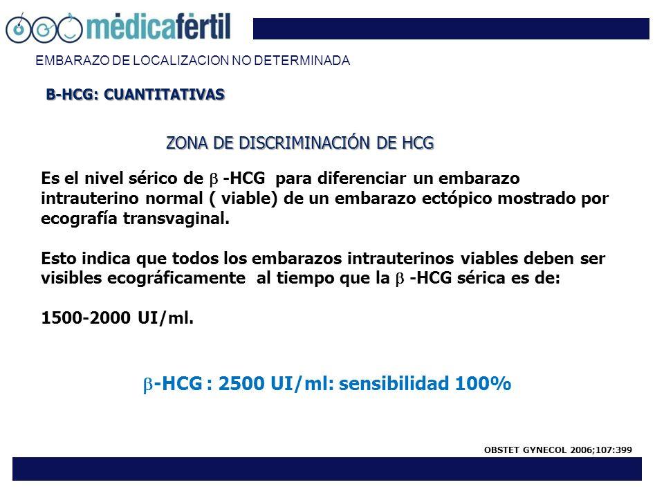 EMBARAZO DE LOCALIZACION NO DETERMINADA ZONA DE DISCRIMINACIÓN DE HCG Es el nivel sérico de -HCG para diferenciar un embarazo intrauterino normal ( vi