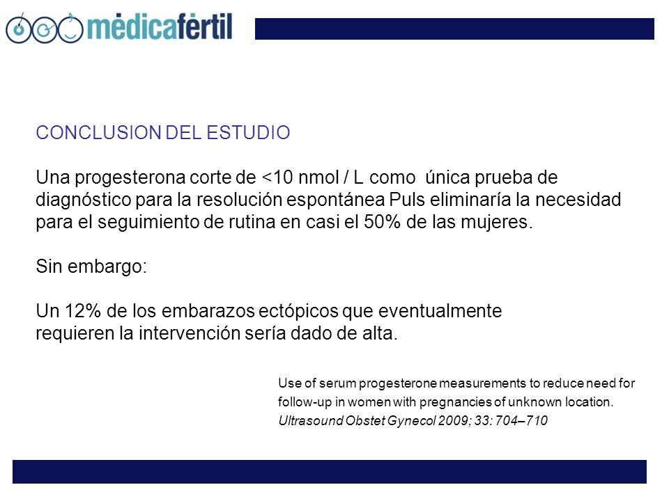 CONCLUSION DEL ESTUDIO Una progesterona corte de <10 nmol / L como única prueba de diagnóstico para la resolución espontánea Puls eliminaría la necesidad para el seguimiento de rutina en casi el 50% de las mujeres.