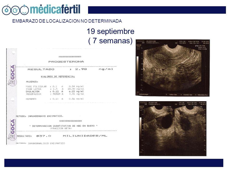 19 septiembre ( 7 semanas) EMBARAZO DE LOCALIZACION NO DETERMINADA
