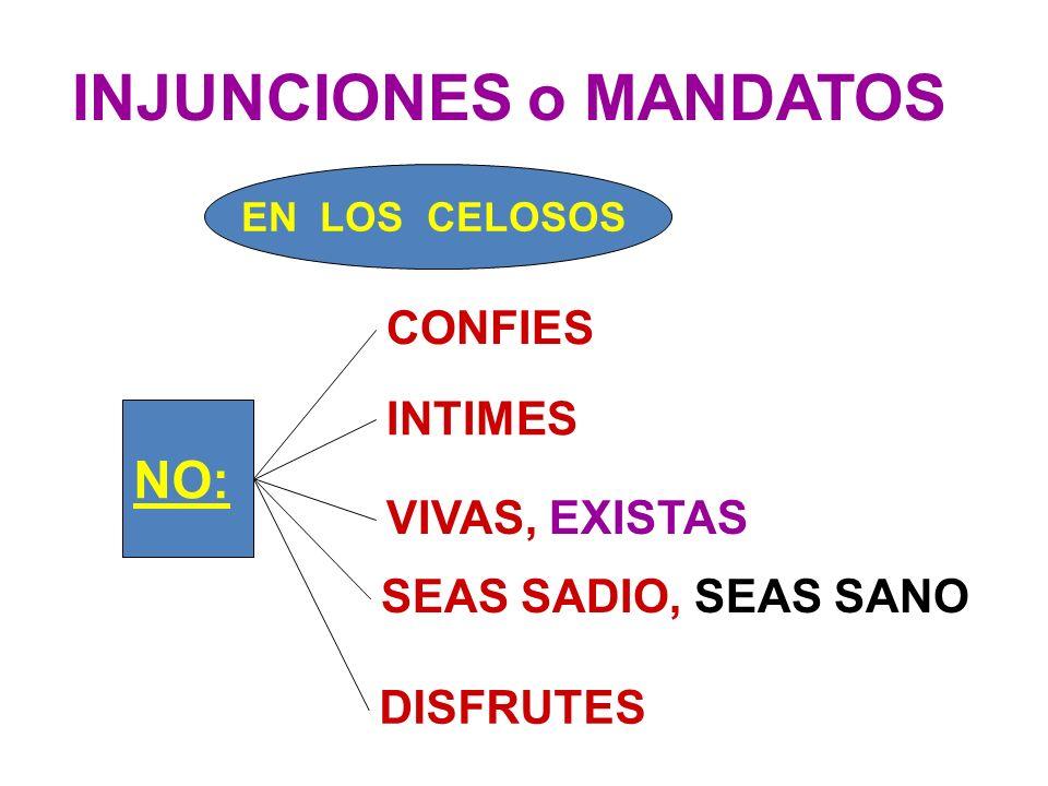 VIVAS, EXISTAS INTIMES CONFIES SEAS SADIO, SEAS SANO DISFRUTES NO: EN LOS CELOSOS INJUNCIONES o MANDATOS