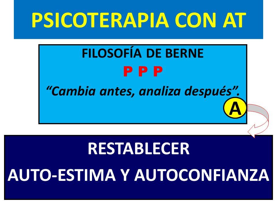 PSICOTERAPIA CON AT FILOSOFÍA DE BERNE P P P Cambia antes, analiza después. RESTABLECER AUTO-ESTIMA Y AUTOCONFIANZA A