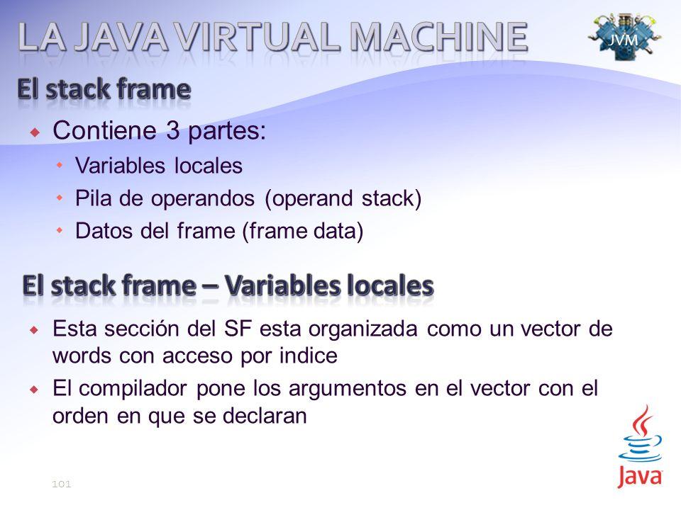 Contiene 3 partes: Variables locales Pila de operandos (operand stack) Datos del frame (frame data) Esta sección del SF esta organizada como un vector de words con acceso por indice El compilador pone los argumentos en el vector con el orden en que se declaran JVM 101