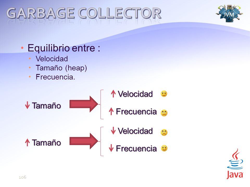 Equilibrio entre : Velocidad Tamaño (heap) Frecuencia.