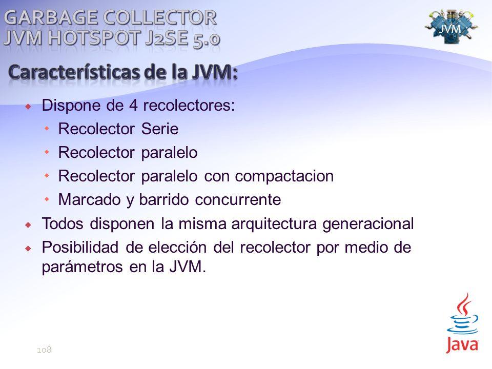 Dispone de 4 recolectores: Recolector Serie Recolector paralelo Recolector paralelo con compactacion Marcado y barrido concurrente Todos disponen la misma arquitectura generacional Posibilidad de elección del recolector por medio de parámetros en la JVM.