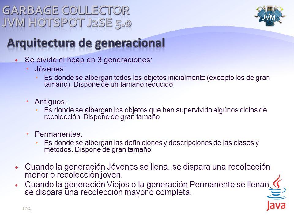 Se divide el heap en 3 generaciones: Jóvenes: Es donde se albergan todos los objetos inicialmente (excepto los de gran tamaño).