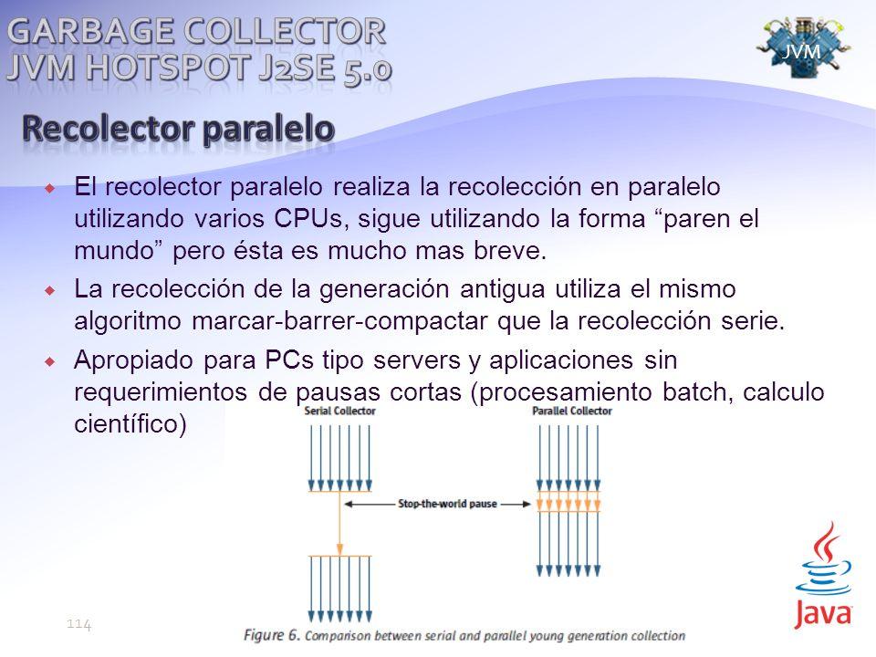 El recolector paralelo realiza la recolección en paralelo utilizando varios CPUs, sigue utilizando la forma paren el mundo pero ésta es mucho mas breve.
