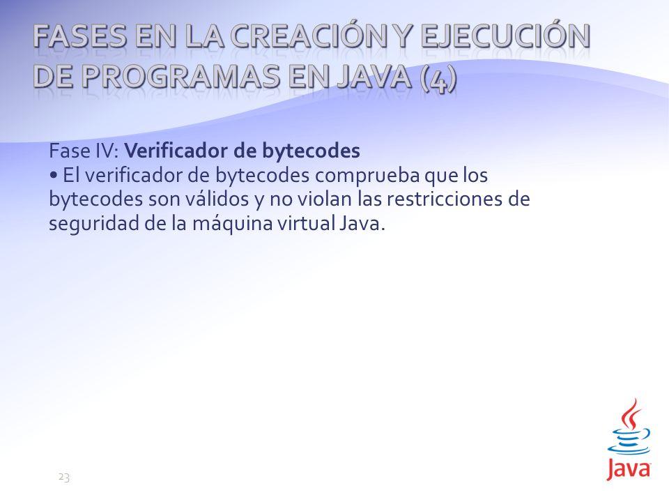 Fase IV: Verificador de bytecodes El verificador de bytecodes comprueba que los bytecodes son válidos y no violan las restricciones de seguridad de la máquina virtual Java.