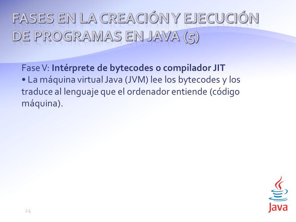 Fase V: Intérprete de bytecodes o compilador JIT La máquina virtual Java (JVM) lee los bytecodes y los traduce al lenguaje que el ordenador entiende (código máquina).