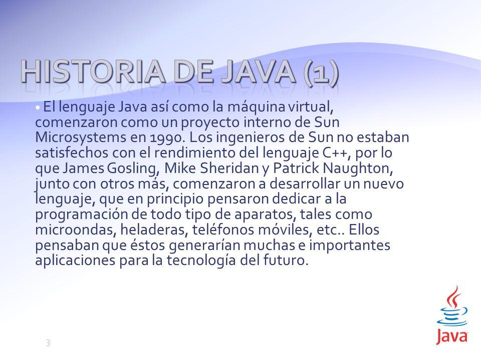 El lenguaje Java así como la máquina virtual, comenzaron como un proyecto interno de Sun Microsystems en 1990.