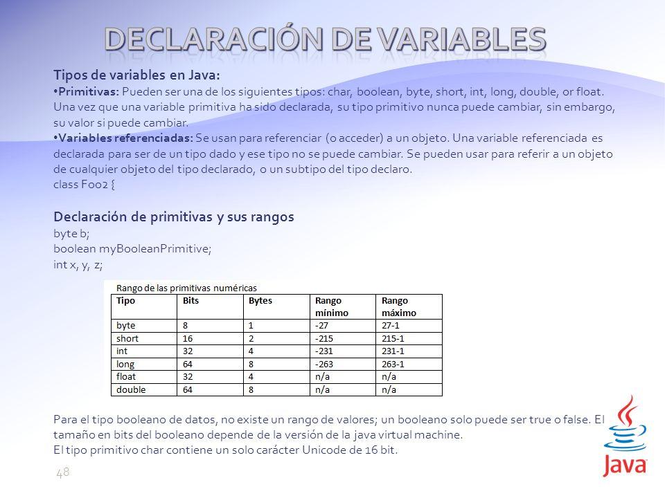 Tipos de variables en Java: Primitivas: Pueden ser una de los siguientes tipos: char, boolean, byte, short, int, long, double, or float.