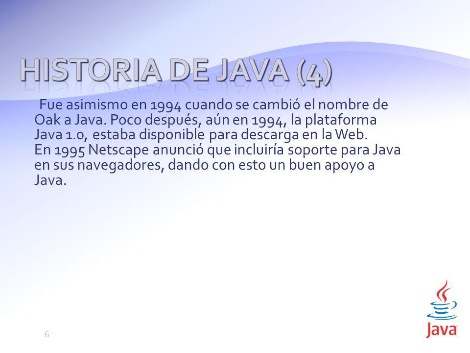 Fue asimismo en 1994 cuando se cambió el nombre de Oak a Java.
