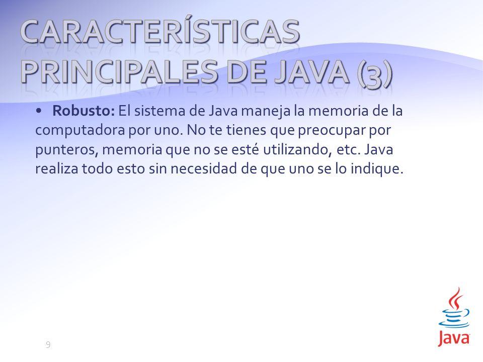 Robusto: El sistema de Java maneja la memoria de la computadora por uno.