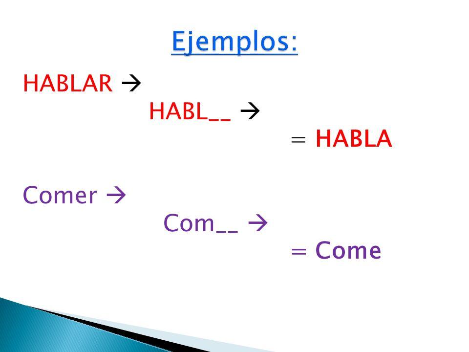 HABLAR HABL__ = HABLA Comer Com__ = Come