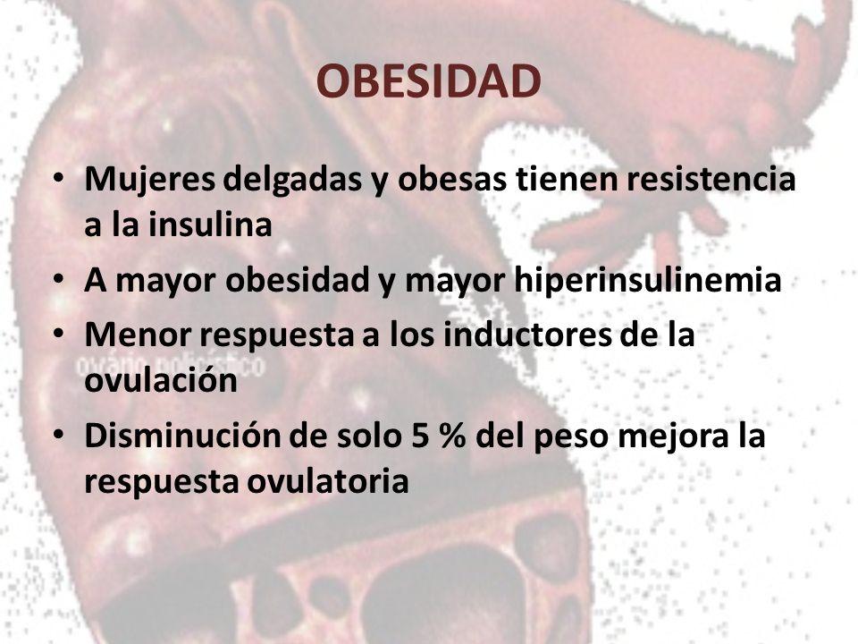 OBESIDAD Mujeres delgadas y obesas tienen resistencia a la insulina A mayor obesidad y mayor hiperinsulinemia Menor respuesta a los inductores de la o