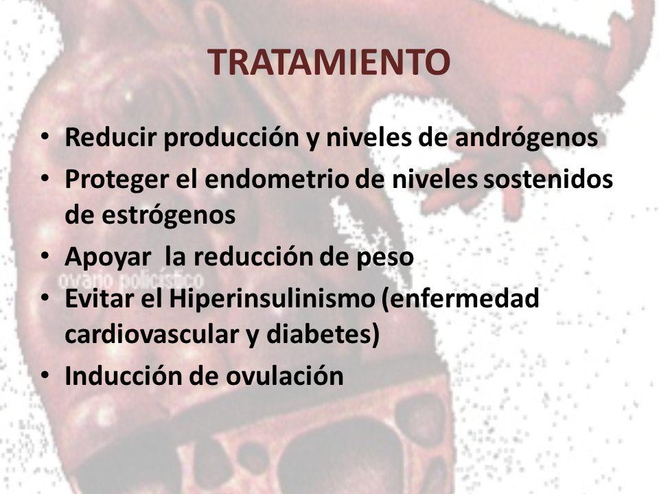 TRATAMIENTO Reducir producción y niveles de andrógenos Proteger el endometrio de niveles sostenidos de estrógenos Apoyar la reducción de peso Evitar e