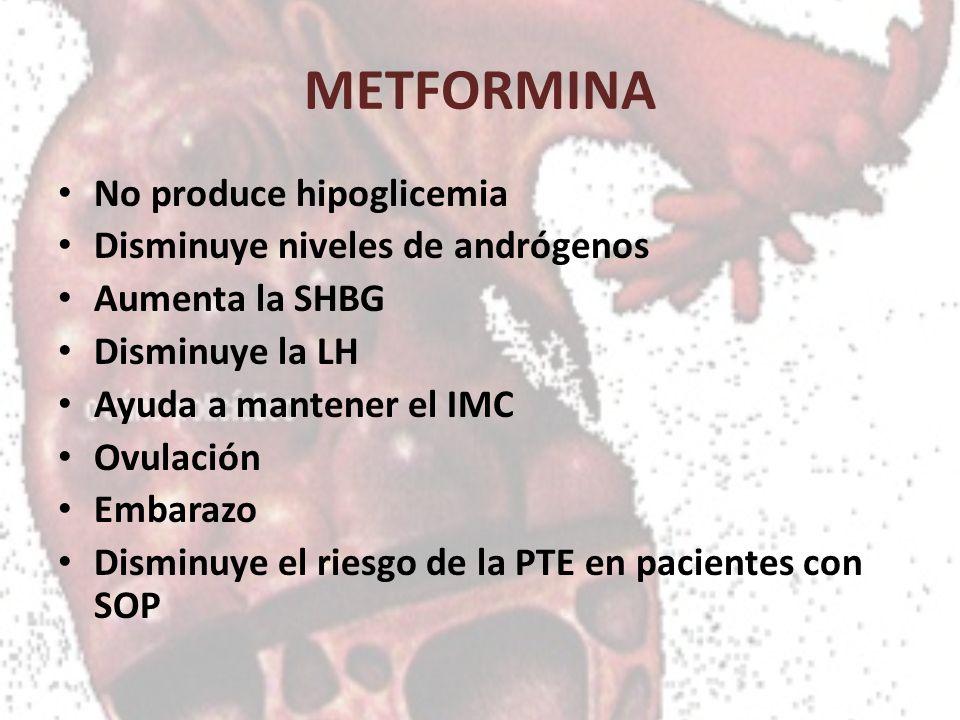 METFORMINA No produce hipoglicemia Disminuye niveles de andrógenos Aumenta la SHBG Disminuye la LH Ayuda a mantener el IMC Ovulación Embarazo Disminuy