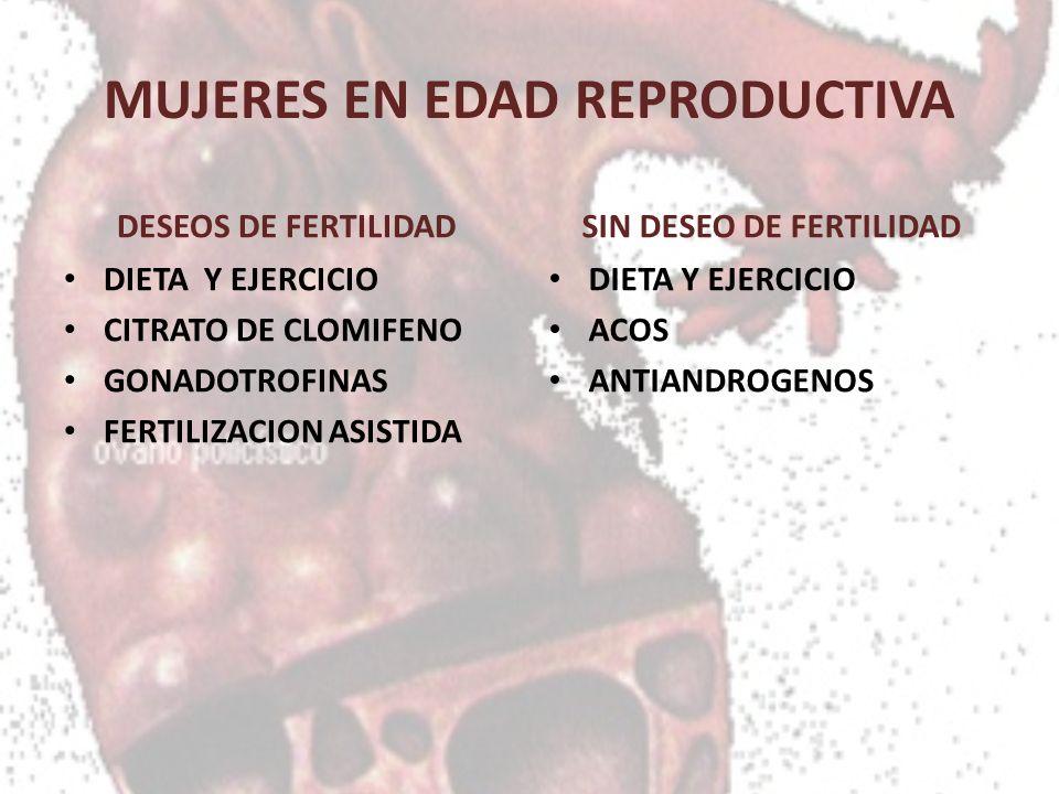 MUJERES EN EDAD REPRODUCTIVA DESEOS DE FERTILIDAD DIETA Y EJERCICIO CITRATO DE CLOMIFENO GONADOTROFINAS FERTILIZACION ASISTIDA SIN DESEO DE FERTILIDAD