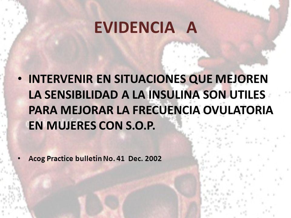 EVIDENCIA A INTERVENIR EN SITUACIONES QUE MEJOREN LA SENSIBILIDAD A LA INSULINA SON UTILES PARA MEJORAR LA FRECUENCIA OVULATORIA EN MUJERES CON S.O.P.