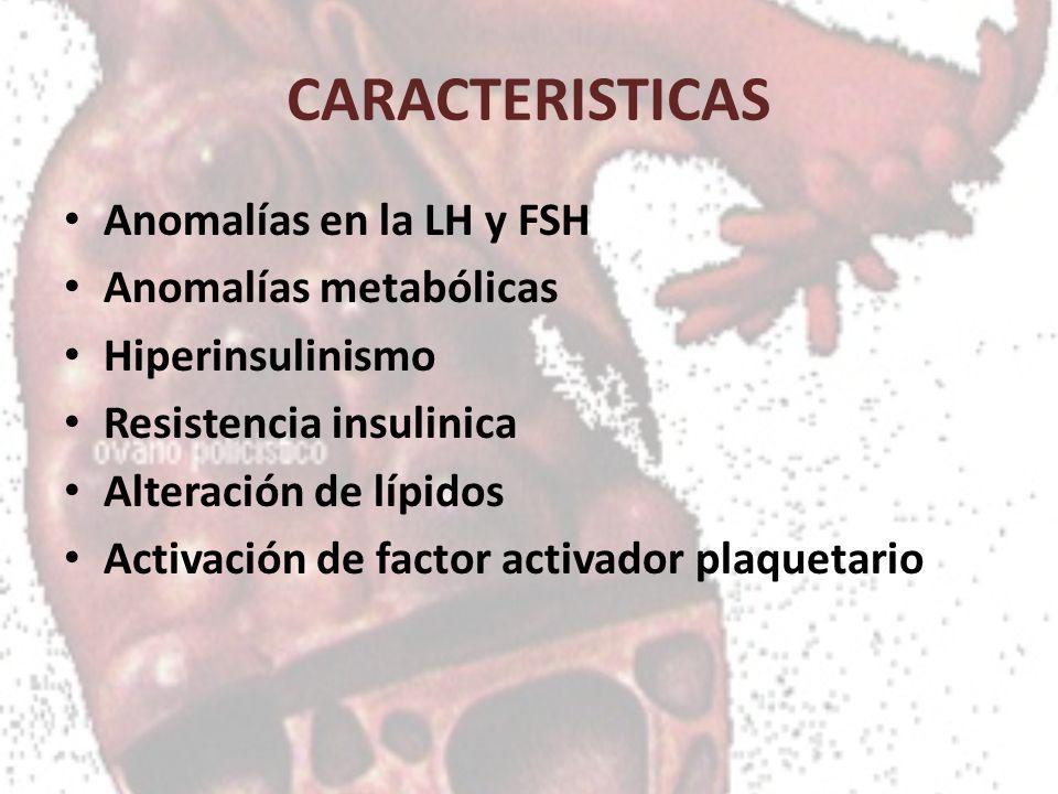 CARACTERISTICAS Anomalías en la LH y FSH Anomalías metabólicas Hiperinsulinismo Resistencia insulinica Alteración de lípidos Activación de factor acti