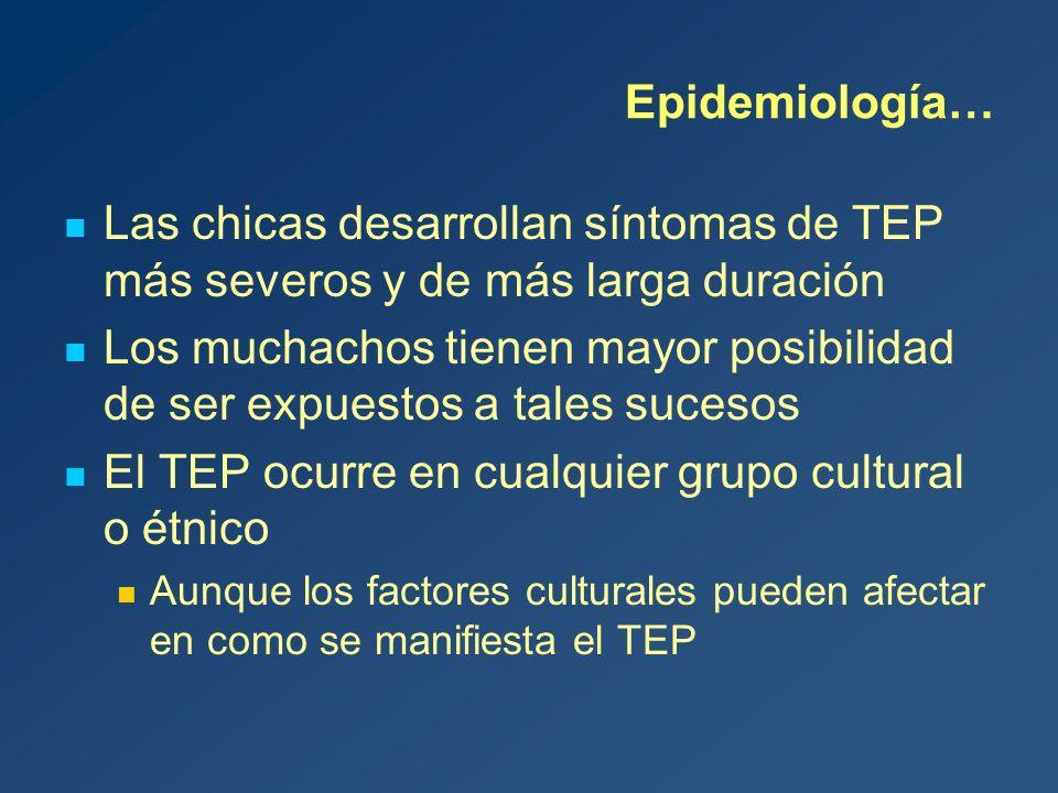 Epidemiología… Las chicas desarrollan síntomas de TEP más severos y de más larga duración Los muchachos tienen mayor posibilidad de ser expuestos a tales sucesos El TEP ocurre en cualquier grupo cultural o étnico Aunque los factores culturales pueden afectar en como se manifiesta el TEP