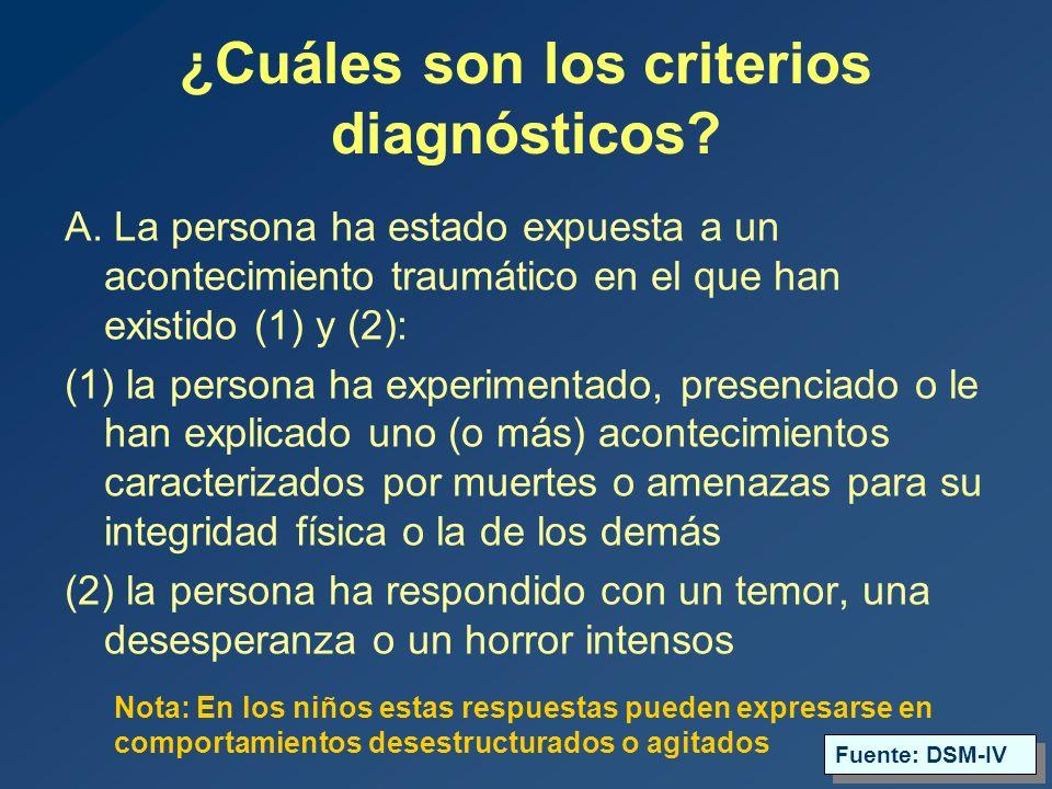 ¿Cuáles son los criterios diagnósticos.A.