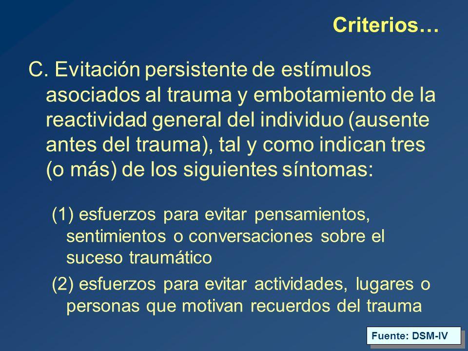 (3) incapacidad para recordar un aspecto importante del trauma (4) reducción acusada del interés o la participación en actividades significativas (5) sensación de desapego o enajenación frente a los demás (6) restricción de la vida afectiva (p.