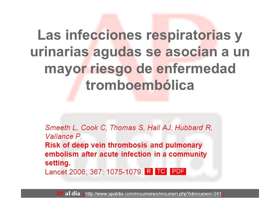 Las infecciones respiratorias y urinarias agudas se asocian a un mayor riesgo de enfermedad tromboembólica Smeeth L, Cook C, Thomas S, Hall AJ, Hubbard R, Vallance P.