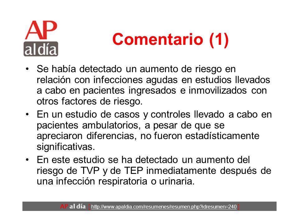 AP al día [ http://www.apaldia.com/resumenes/resumen.php idresumen=240 ] Conclusiones Los autores concluyen que las infecciones agudas se asocian a un aumento transitorio del riesgo de sufrir un tromboembolismo venoso.
