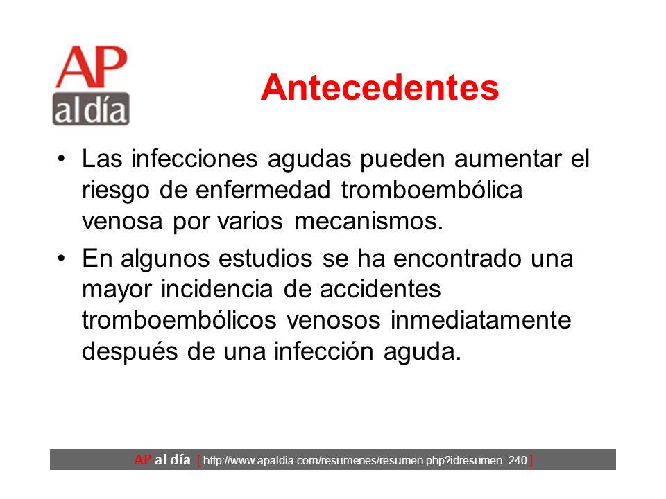AP al día [ http://www.apaldia.com/resumenes/resumen.php?idresumen=240 ] Antecedentes Las infecciones agudas pueden aumentar el riesgo de enfermedad tromboembólica venosa por varios mecanismos.