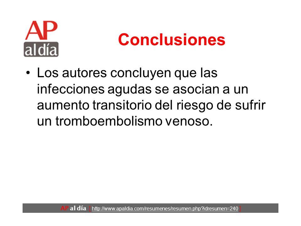 AP al día [ http://www.apaldia.com/resumenes/resumen.php?idresumen=240 ] Conclusiones Los autores concluyen que las infecciones agudas se asocian a un aumento transitorio del riesgo de sufrir un tromboembolismo venoso.