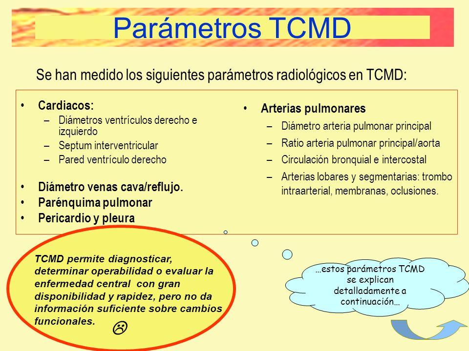 Parámetros TCMD Se han medido los siguientes parámetros radiológicos en TCMD: Cardiacos: –Diámetros ventrículos derecho e izquierdo –Septum interventr