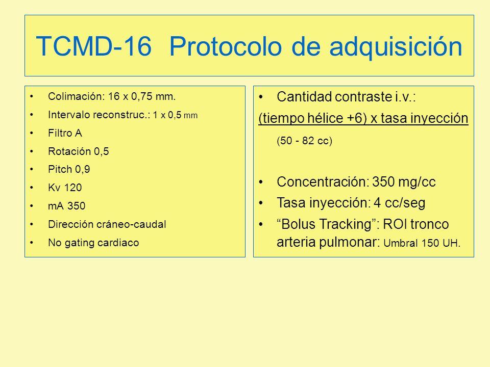 TCMD-16 Protocolo de adquisición Colimación: 16 x 0,75 mm. Intervalo reconstruc.: 1 x 0,5 mm Filtro A Rotación 0,5 Pitch 0,9 Kv 120 mA 350 Dirección c