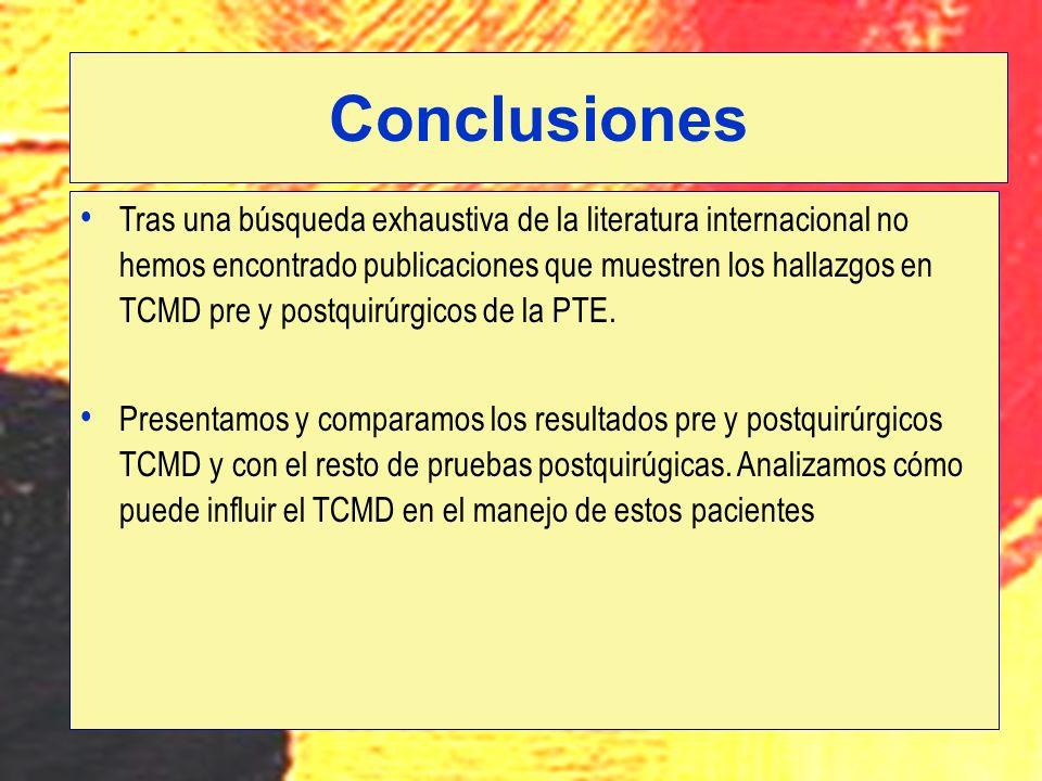 Tras una búsqueda exhaustiva de la literatura internacional no hemos encontrado publicaciones que muestren los hallazgos en TCMD pre y postquirúrgicos