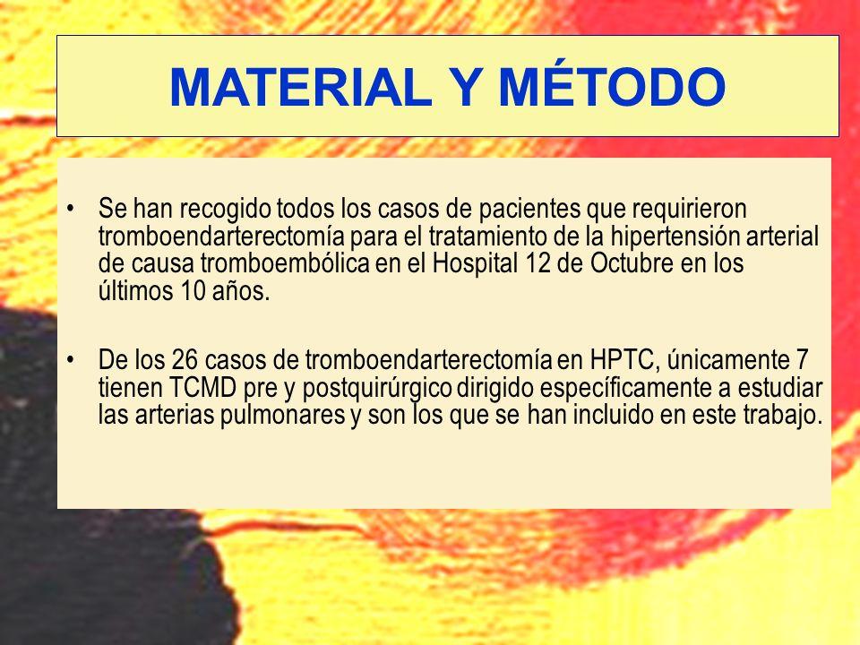 Se han recogido todos los casos de pacientes que requirieron tromboendarterectomía para el tratamiento de la hipertensión arterial de causa tromboembó