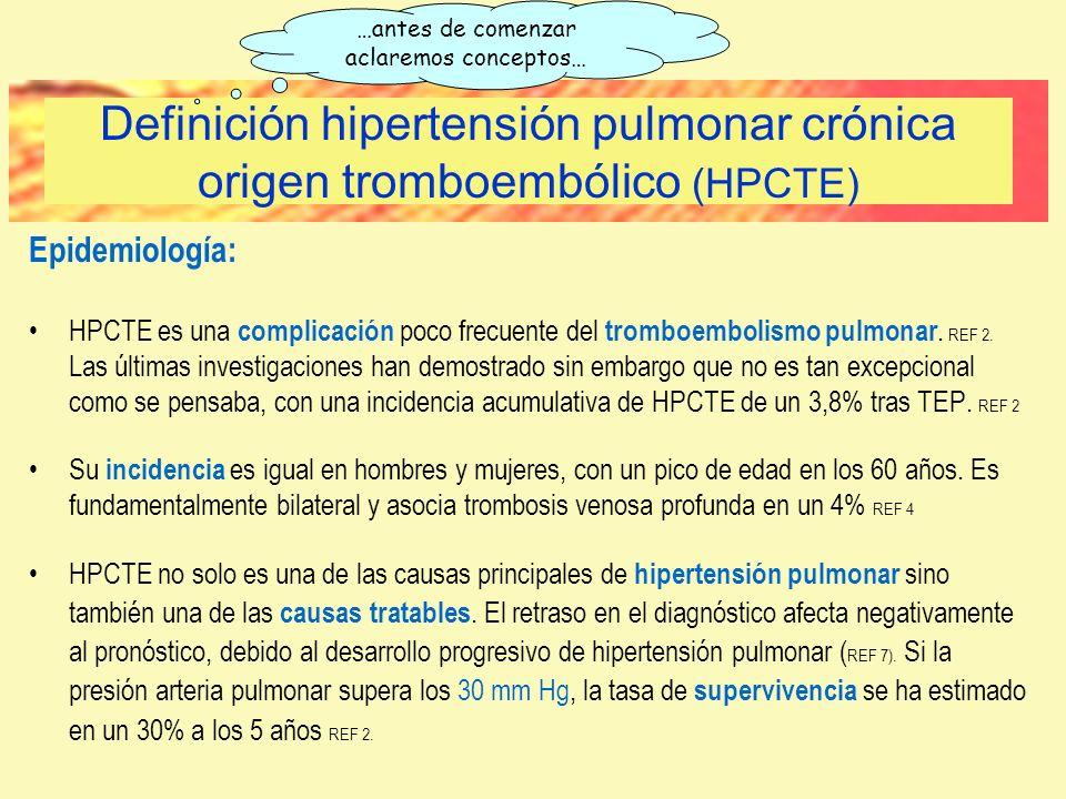 Epidemiología: HPCTE es una complicación poco frecuente del tromboembolismo pulmonar. REF 2. Las últimas investigaciones han demostrado sin embargo qu