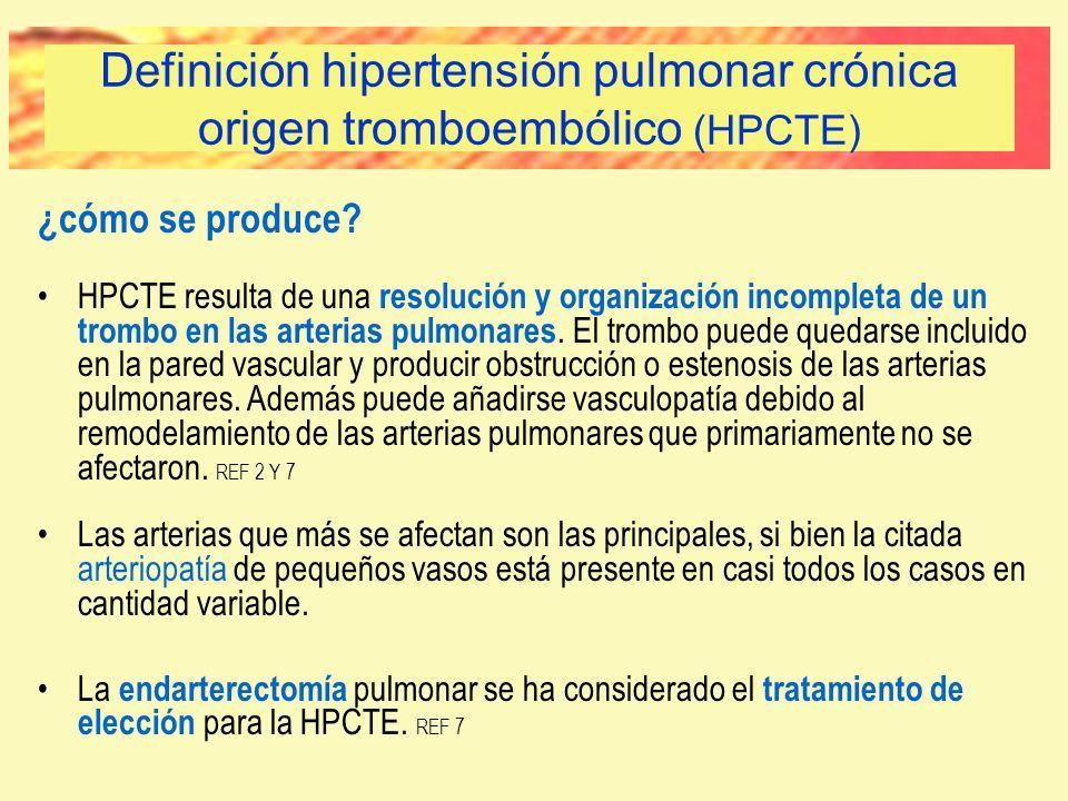 ¿cómo se produce? HPCTE resulta de una resolución y organización incompleta de un trombo en las arterias pulmonares. El trombo puede quedarse incluido