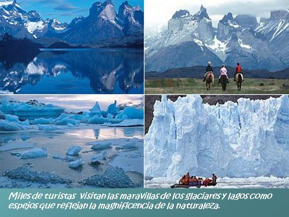 Miles de turistas visitan las maravillas de los glaciares y lagos como espejos que reflejan la magnificencia de la naturaleza.