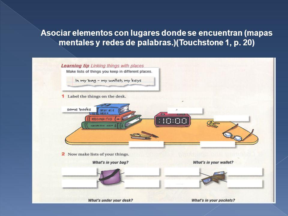 Asociar elementos con lugares donde se encuentran (mapas mentales y redes de palabras.)(Touchstone 1, p.