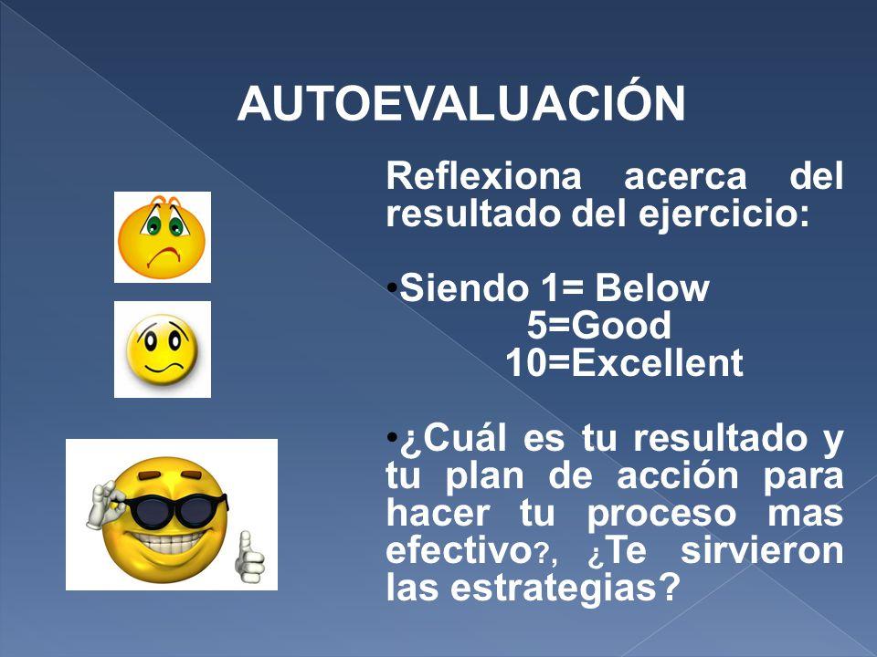 AUTOEVALUACIÓN Reflexiona acerca del resultado del ejercicio: Siendo 1= Below 5=Good 10=Excellent ¿Cuál es tu resultado y tu plan de acción para hacer tu proceso mas efectivo , ¿ Te sirvieron las estrategias